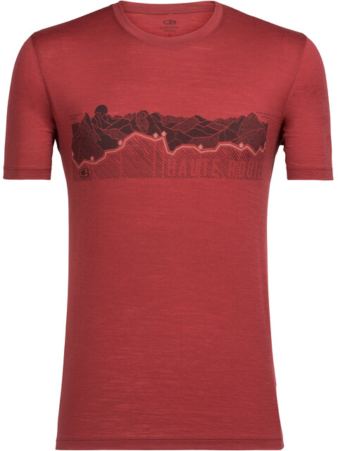 Icebreaker Tech Lite Haute Route SS Crewe Shirt Men vintage red